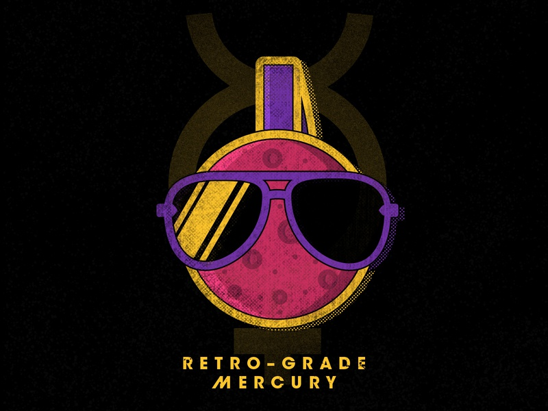 Retro-Grade Mercury nasa illustration graphic design derek mohr dj retrowave 80s sunglasses astrology retro space mercury