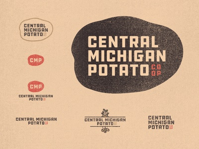 Central Michigan Potato Co-op 01 brown co-op inspiration responsive logo farming farm 70s ddc hardware vintage retro branding badge graphic design typography michigan derek mohr textured gritty small business potato