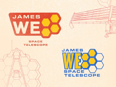 James Webb Space Telescope Logos 01 science logotype hexagon patch badge design planet stars discovery hubble telescope satellite spacex nasa space line drawing graphic design badge logo design logo derek mohr