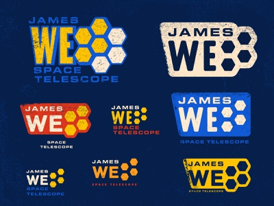 James Webb Space Telescope Logos 02 futuristic jwst sci-fi science telescope starship aliens outer space spaceship hubble planet nasa space textured typography graphic design badge logo design logo derek mohr
