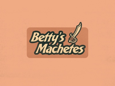 Betty's Machetes minimal simple lettering bakery script cartoon knife southwest mexico machete sword orange colorful bobs burgers pun graphic design branding logo design typography derek mohr