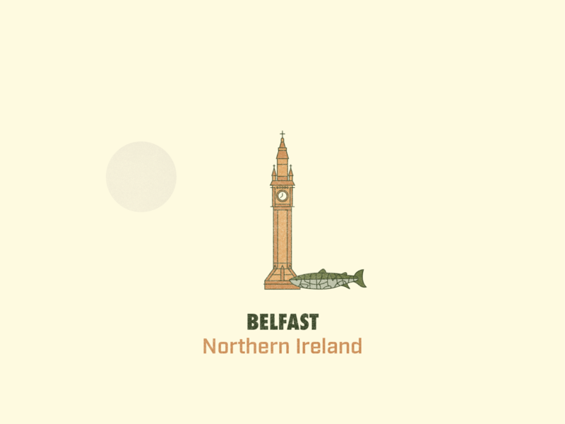 BELFAST, N. IRELAND united kingdom northern ireland belfast hiking wandering textured illustration traveling travel cityscape city derek mohr