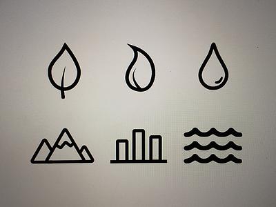 Icon Design icon graphic design earth leaf fire flame water drip mountain city sea ocean
