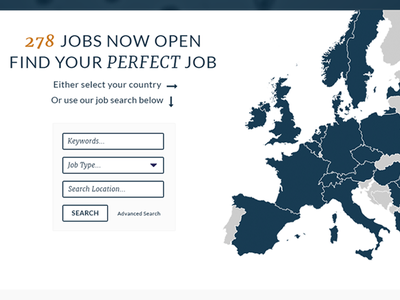 Small Sample Website Design ux europe search website recruitment agency map interactive jobs design clean minimal form