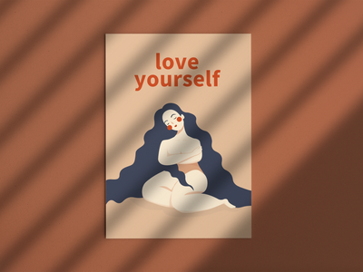 Love yourself minimal flat design posters illustrator illustration vector art