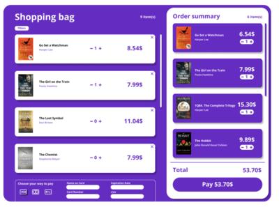 Cart ui bookshop books purple design concept cart