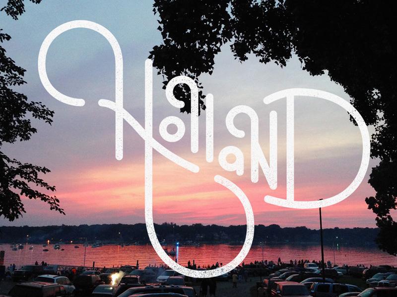 Holland Postcard holland michigan typography script texture