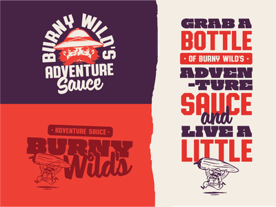Burny Wild's Adventure Sauce typogaphy adventure pepper mascot logo design branding and identity logo branding hot sauce