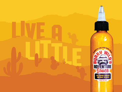 Burny Wild's Adventure Sauce branding packaging illustration hot sauce