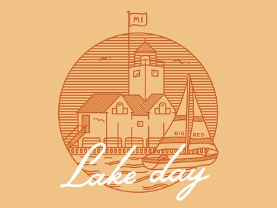Lake Day sailboat great lakes michigan lighthouse shirt