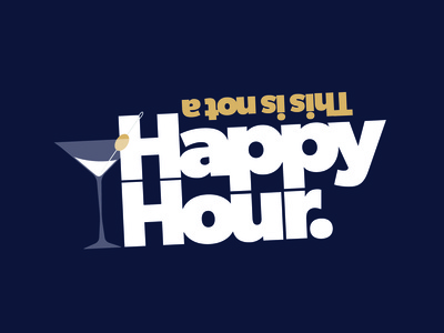 Upcoming Week of Office Shenanigans mid century food and beverage happy hour logo