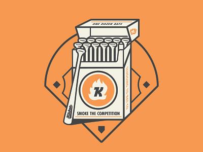 Smoke the Competition raleigh durham bulls the kitchen shirt lucky strike cigarettes baseball illustration