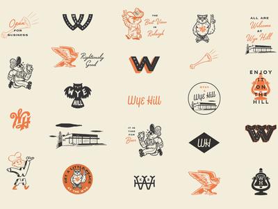 Wye Hill Kitchen & Brewing logo monogram mascot kitchen brewery branding illustration