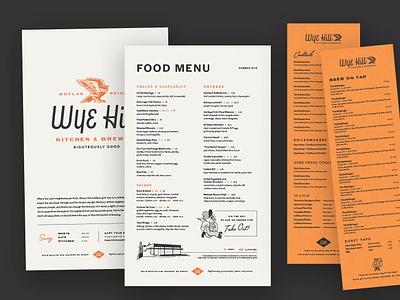 Wye Hill Kitchen & Brewing Menus restaurant branding brewery restaurant menu menu design