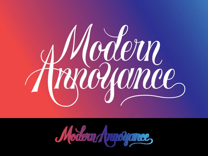 Modern Annoyance script handlettering handlettered handletter calligraphy logotype logo branding