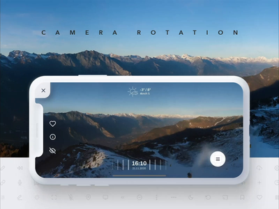 Swipe rotation for 360° camera app mountains live motion interaction landscape panorama swipe scroll 360 rotation camera design mobile iphone ios interface animation ux ui app