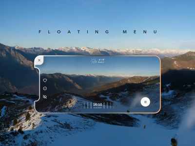 Floating menu for camera app glassy blur application glassmorphism glass motion interaction camera menu floating action button fab design mobile iphone ios interface animation ux ui app