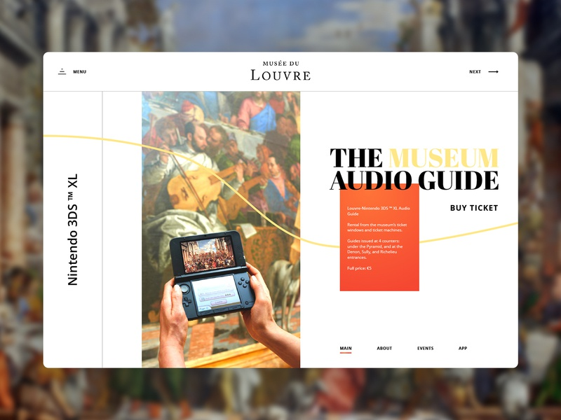 Louvre landing page redesign main page homepage grid website web composition navigation redesign nintendo painting art gallery museum louvre golden ratio typography ux ui app landing