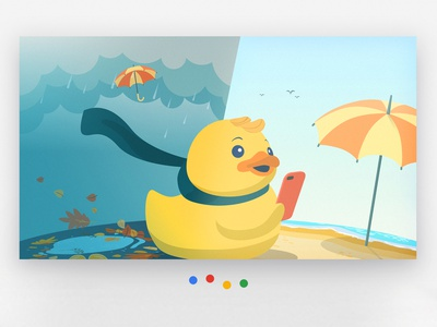 Google assistant cover illustration doodle vector scarf iphone character app autumn summer rubber banner cover rain beach umbrella duck weather art illustration assistant google