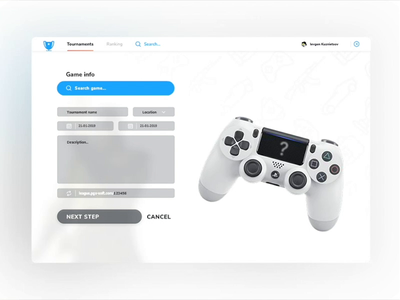 Setting new tournament form interface interaction hover animation web ui ux tournament search match dropdown league input gaming game fluent fifa dashboard app
