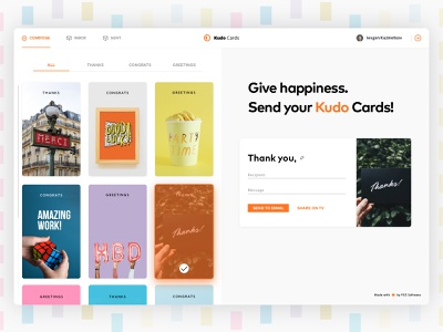 Kudo Cards manager dashboard interface postcard letter sketch feed check form hover gallery grid web dashboard email message fluent tabs card ux ui app