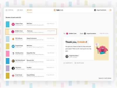 Sent Kudo Cards list interface shot debut dribbble ux ui illustration postcard hover tabs message letter feed fluent email dashboard list card web app