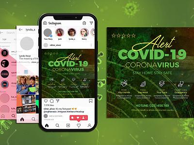 Covid-19 Flyer & Social Media Post Templates social media mask covid-19 instagram coronavirus bacteria flyer covid19 sick quarantine pandemic n-cov mers epidemic covid wuhan wuhan virus