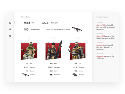 Apex Legend Score Dashboard weekend exercise minimal apex legend dashboard app design ui design