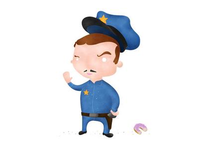 Cool Down your temper... Mr Cop! mustache doughnut cop flat design police illustration