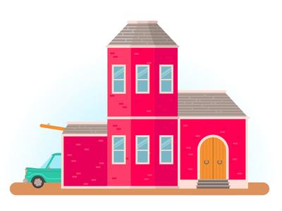 One House  garage car house flat illustration