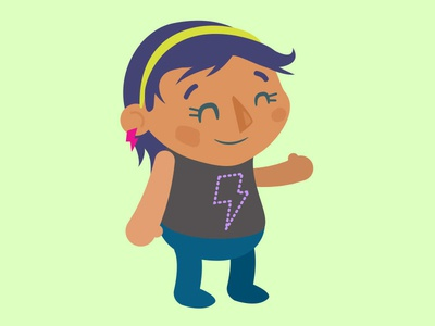 Kid Rock girl rock character flat illustration