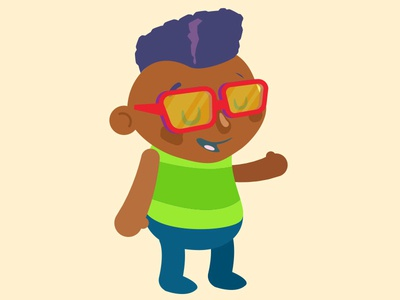 Kid Down Rock genderless kool kid 80s character flat illustration