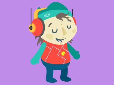 Kid Data genderless head phones pacman video games computers data character flat illustration
