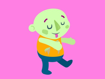 Kid Z genderless zombie kid character flat illustration