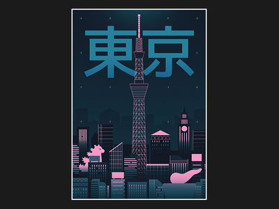 Poster - Tokyo travel poster typogaphy japan city illustration cityscape tokyo city graphic design design vector illustration