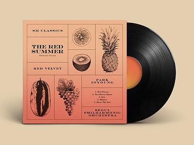 Album - Red Velvet / Red Flavor album cover design watermelon orange grapes pineapple kiwi fruit kpop red velvet music album art album cover drawing graphic design design illustration