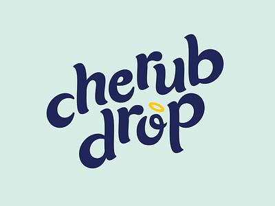 Cherub Drop food delivery app heavenly angel blue cherub food delivery food branding identity drawing graphic design design vector illustration logo design