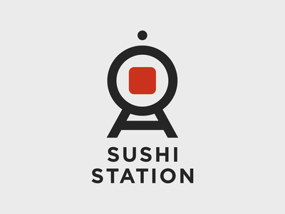 Sushi Station subway train station sushi tokyo japan food branding identity travel logo icon drawing graphic design design vector illustration