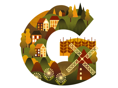Grass in Georgia? windmill identity icon drawing graphic design type forest trees autumn farm typography travel design vector illustration