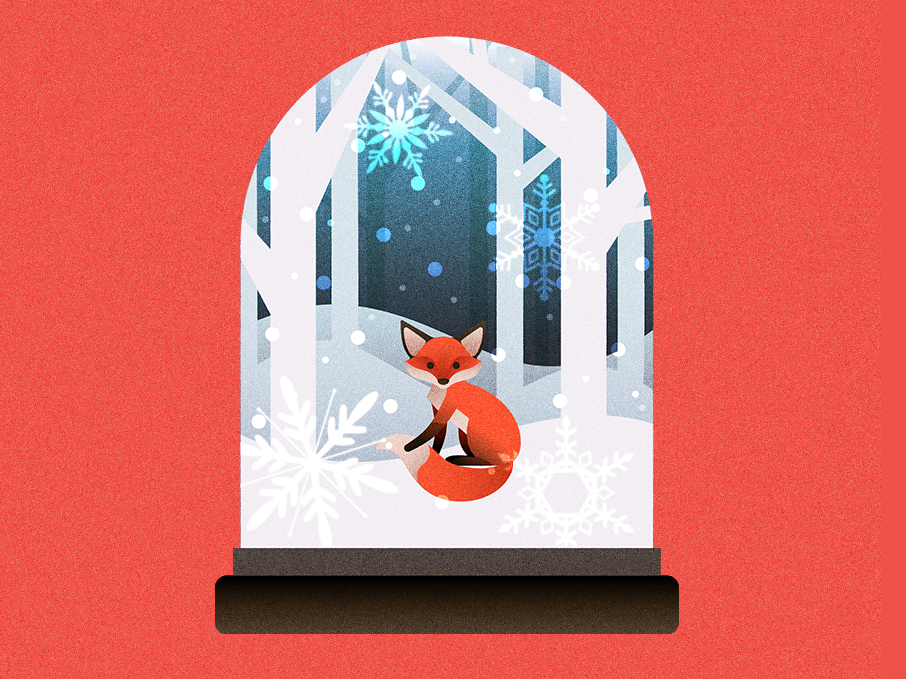 What Does The Fox Say? snowflake christmas snow drawing design vector illustration snowglobe fox