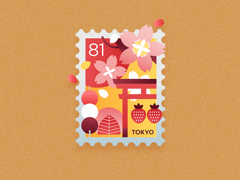 Travel Stamp - Spring in Japan strawberry mochi cherry blossom sakura tokyo japan spring icon graphic design travel design vector illustration