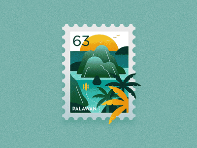 Travel Stamp - Paradise in The Philippines sea coconut island summer beach coron el nido palawan philippines icon travel graphic design drawing design vector illustration