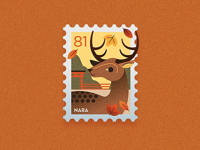 Travel Stamp - Autumn in Japan icon logo design deer logo autumn fall orange deer illustration nara deer identity logo japan travel graphic design vector illustration
