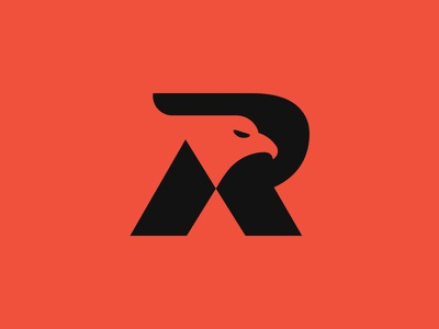 Eagle + R eagle branding icon identity logo design vector illustration