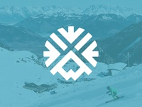 #DailyLogo - Day 8, Ski Resort Logo snowboarding snowflake mountain ski snow logo identity branding travel icon graphic design drawing design vector illustration