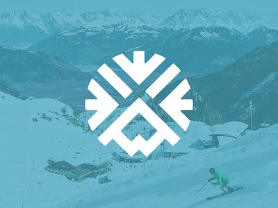 #DailyLogo - Day 8, Ski Resort Logo snowboarding snowflake mountain ski snow logo identity branding travel icon graphic design drawing design vector illustration