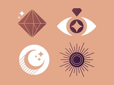 Jewelry Icon Concept jewelry design star moon diamond jewelry identity logo icon graphic design vector design illustration