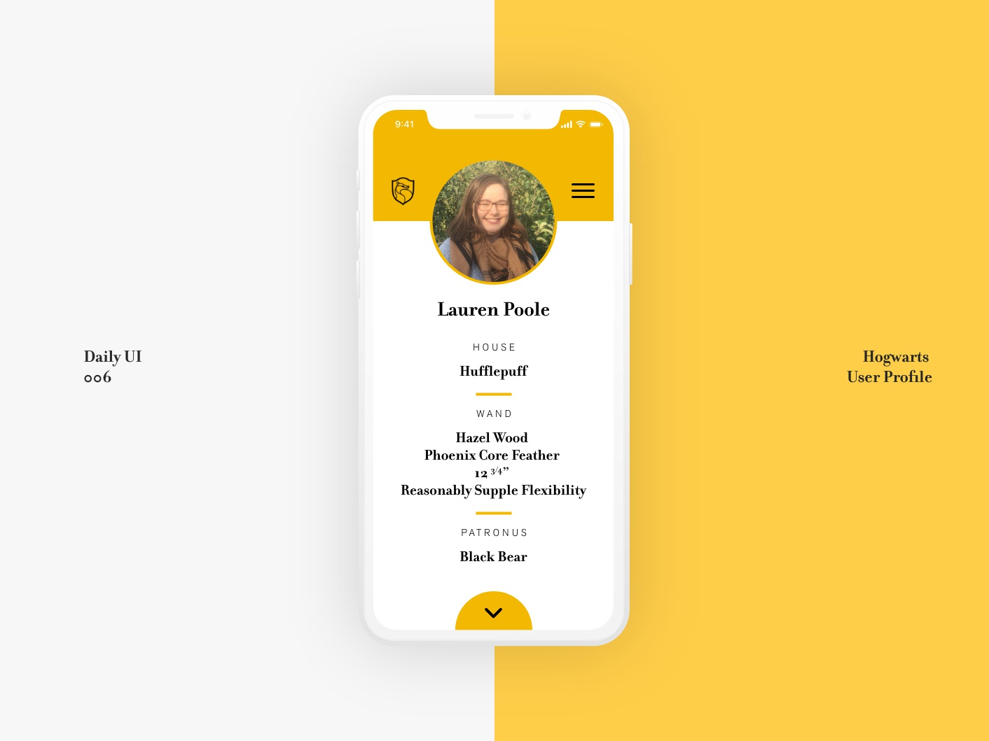 DAILY UI 006 daily ui 006 user profile hufflepuff harry potter harrypotter web ux daily ui xd ui dailyui vector design