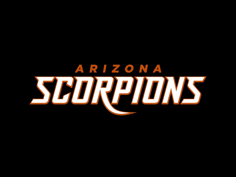 Arizona Scorpions Wordmark star desert league simulation mascot logo design sports logo sports esports wordmark esports logo scorpion esports football scorpions arizona team wordmark