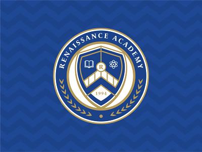 Renaissance Academy Visual Identity schools renaissance traditional elegant logotype monogram identity visual identity crest shield design brand branding logo school logo school academy
